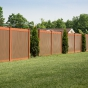 Illusions Vinyl Fence V300-6 Shown in Brown (L106) and Brick Red (E108)