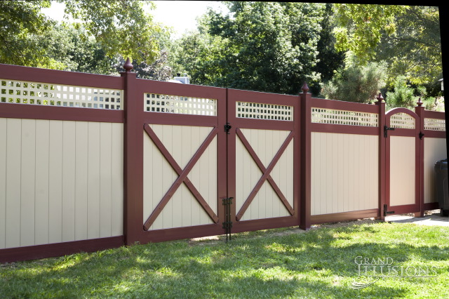 vinyl fence colors. V3215SQ-6 Vinyl Tongue And Groove Privacy Fence With Square Lattice. Lattice Colors