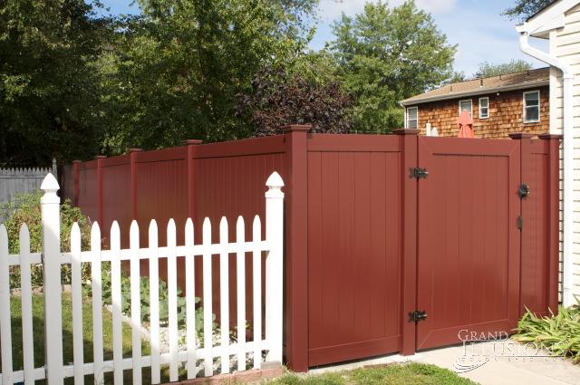 vinyl fence colors. V300-6 Color Vinyl Tongue And Groove Privacy Fence Shown In Bordeaux (E119). (E119) Colors L
