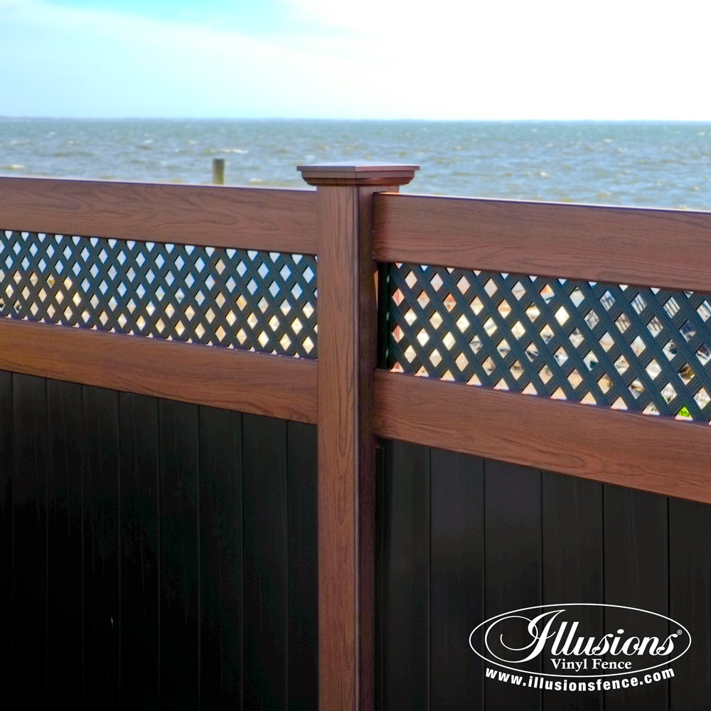 black vinyl privacy fence. Black-and-wood-grain-vinyl-pvc-fence-illusions-. Black-and-wood-grain-vinyl -pvc-fence-illusions- Black Vinyl Privacy Fence T