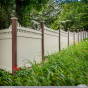 Brown and Tan PVC Vinyl Privacy Fence Panels with Stepped Classic Victorian Picket Toppers from Illusions Vinyl Fence. #fenceideas #homeideas #backyardideas #fence