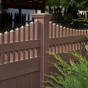 V3707-6 6\' T&G PVC Privacy fence with Scalloped Victorian top pickets in  Brown (L106)