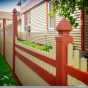 Amazing Tan and Barn Red PVC Vinyl Privacy Fence by Illusions Vinyl Fence.