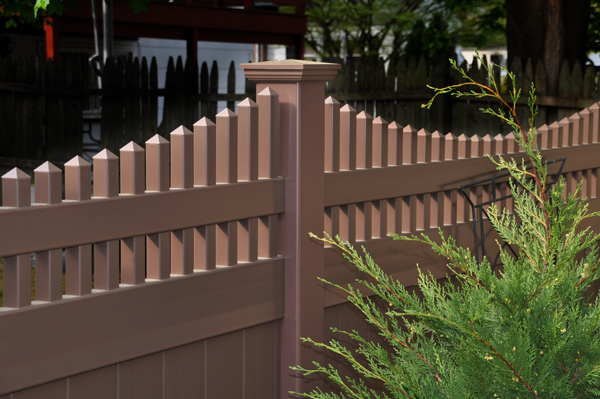 brown vinyl picket fence. V3707-6 6\\\u0027 T\u0026G PVC Privacy Fence With Scalloped Victorian Top Pickets In. In Brown Vinyl Picket