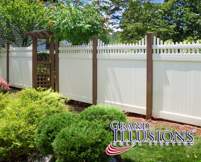 Brown Vinyl Picket Fence V3706 6 Brown And White Color Vinyl Privacy