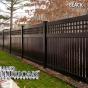 V5215-6 Semi-Privacy Fence with Old English Lattice shown in Black (L105)