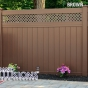 V3215DS-6 Color Privacy Tongue and Groove Small Lattice Fence Shown in Brown (L106)