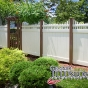 V3706-6 Brown and White Color Vinyl Privacy Fence with Stepped Classic Victorian Topper