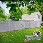 V3701-6L103. Vinyl Privacy T&G fence with Framed Victorian Picket Topper shown in Seacoast Gray (L103)