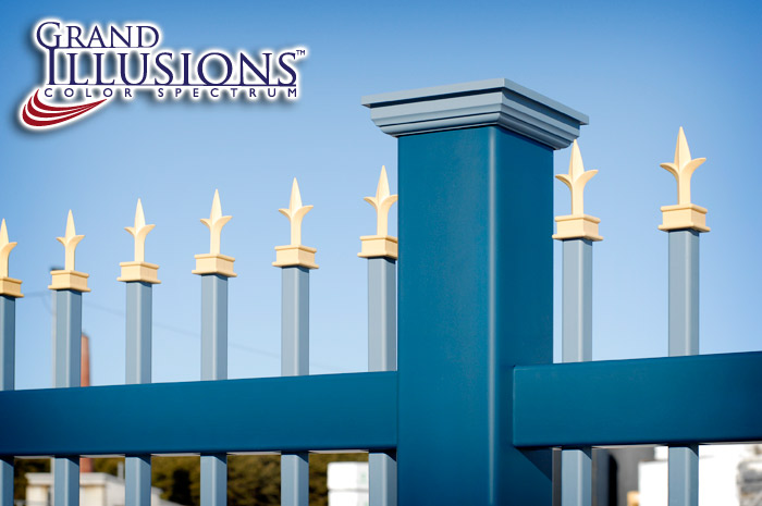 """V0101-4 Grand Illusions Vinyl Ornamental Fence with 1"""" x 1"""" Pickets"""