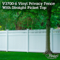 Beautiful V3700-6 tongue and groove vinyl privacy fence with Classic Victorian straight picket top in Classic White. #fence #fences #fencing #vinylfence #vinylfencing #fencepanels #fenceideas #homeideas #homedecor #backyardideas #privacyfence #privacyfences #poolfence #poolfences #longisland #longislandny #newyork #connecticut #rhodeisland #massachusetts #connecticut #pennsylvania #newjersey #fencecompany #bestfence #fencecontractor #fenceinstaller #yardfence