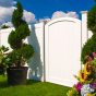 V300-6 T&G PVC Privacy Fence and VBG2 Crowned Gate in White (C101)