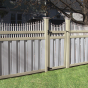 V210TF - ILLUSIONS VINYL SEMI-PRIVACY BOARD ON BOARD FENCE WITH ORNAMENTAL PICKETS