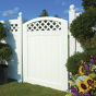 VBG4 ILLUSIONS VINYL FENCE CURVED GATE WITH LATTICE