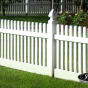 V350-4TR Straight Top Contemporary Picket Fence with French Gothic Post Caps