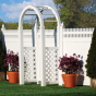 V3700-6 6' HIGH ILLUSIONS VINYL PRIVACY FENCE WITH STRAIGHT VICTORIAN TOP IN WHITE