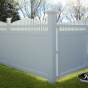 V3708-6 T&G Privacy Fence with Crowned Victorian Top and Drive Gates in White (C101)