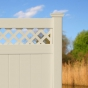 V3215D-6BG T&G Vinyl Privacy Fence with Diagonal Lattice in Beige (C102)