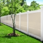 V300-6BW 6\' HIGH ILLUSIONS VINYL PRIVACY FENCE WITH BEIGE PANELS AND WHITE RAILS AND POSTS