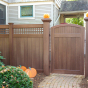 V3215SQ-6 6' T&G Vinyl Privacy fence with Square Lattice & Curved Walk Gate