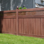 PVC Privacy Fence with Small Diagonal Lattice in Walnut (W103)