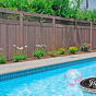 PVC Privacy Fence with Square Lattice in Walnut (W103)