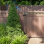 V3707-6 - Grand Illusions Vinyl WoodBond Walnut (W103) Scalloped Privacy Fence
