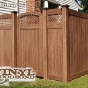 V3215DS-6 T&G PVC Privacy fence with Diagonal Lattice in Walnut (W103)