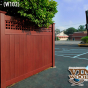 V3215SQ-6 Privacy Fence with Square Lattice in Vinyl Woodbond Cherry (W102)