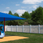 V0402-4 Vinyl Picket Fence with Framed top in White (C101) surrounding playground.