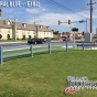 2-Rail Post and Rail Vinyl fence shown in Federal Blue (E102)