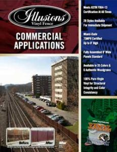 Illusions Vinyl Fence PVC vinyl commercial fence brochures. Commercial fence applications, industrial fence applications, fence specification, etc.