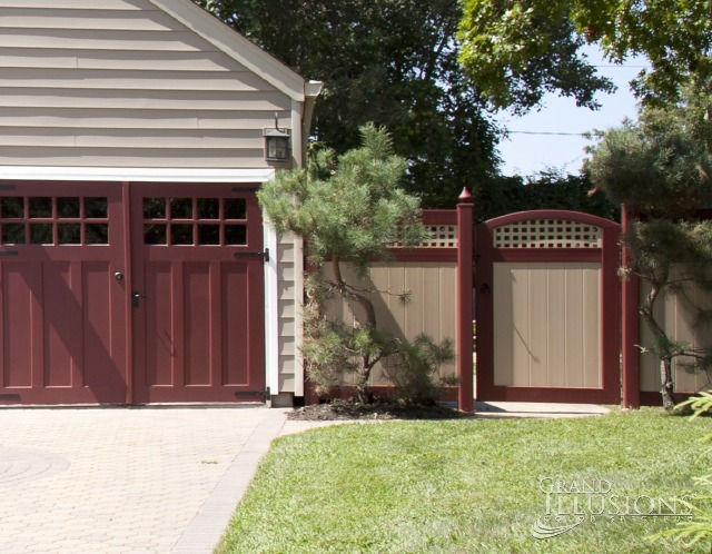 Stunning V3215SQ-6 Vinyl Tongue and Groove Privacy Fence with Square Lattice in Desert Sand(E123) & Burgundy (E110). VBG4-46 Curved Vinyl Accent Walk Gate with IESH Extra Strong Hinges.