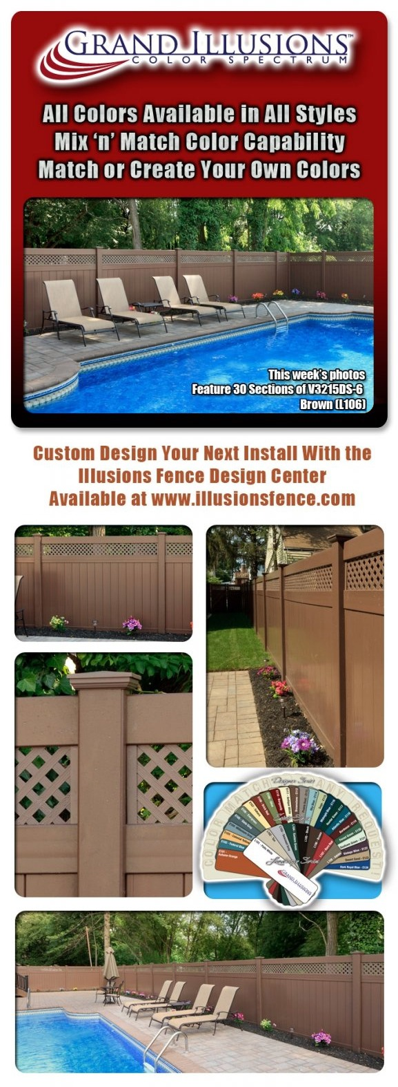 """30 Sections of Brown (L106) V3215DS-6 Tongue & Groove Vinyl Privacy Fence with 1"""" Small Diagonal Lattice."""