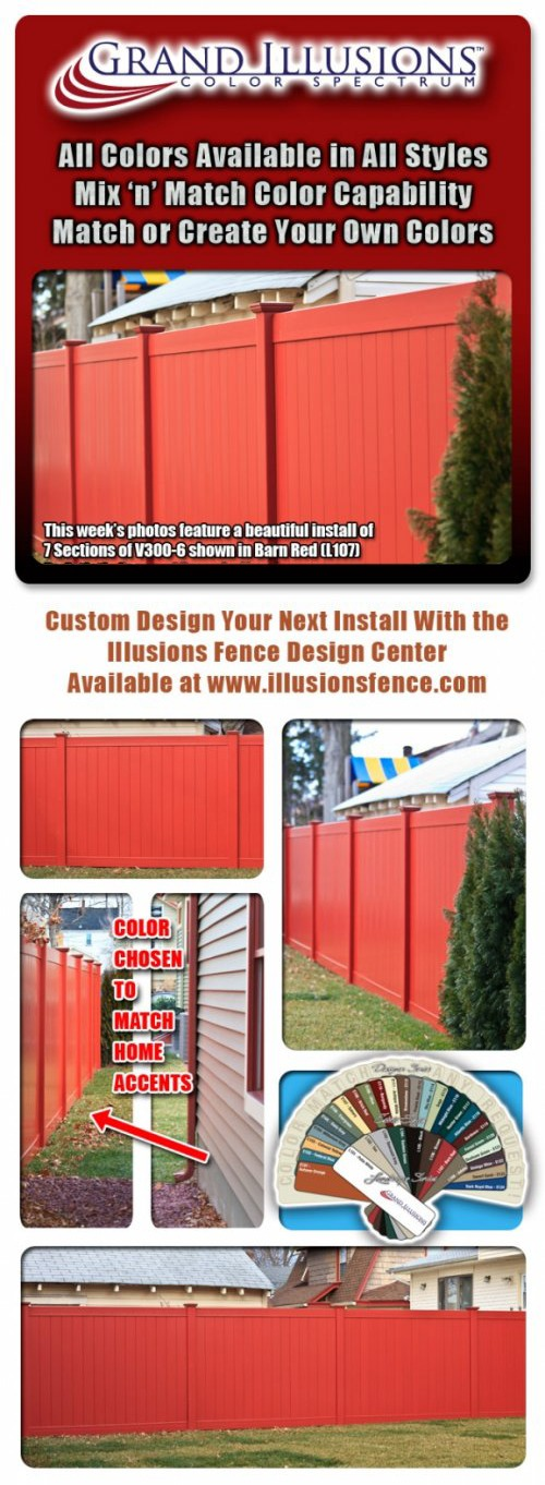 Tongue & Groove Vinyl Privacy Fence in Barn Red