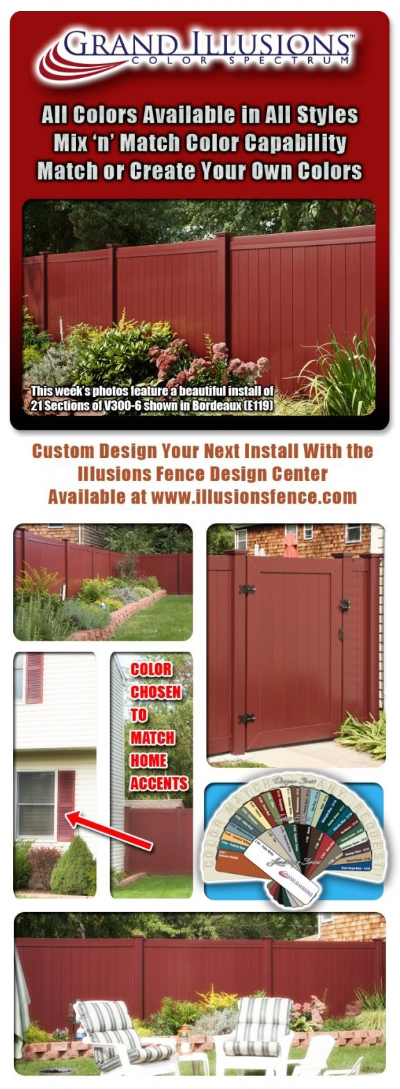 Grand Illusions Color Spectrum. 21 sections of Bordeaux (E119) V300-6 Tongue & Groove Vinyl Privacy Fence