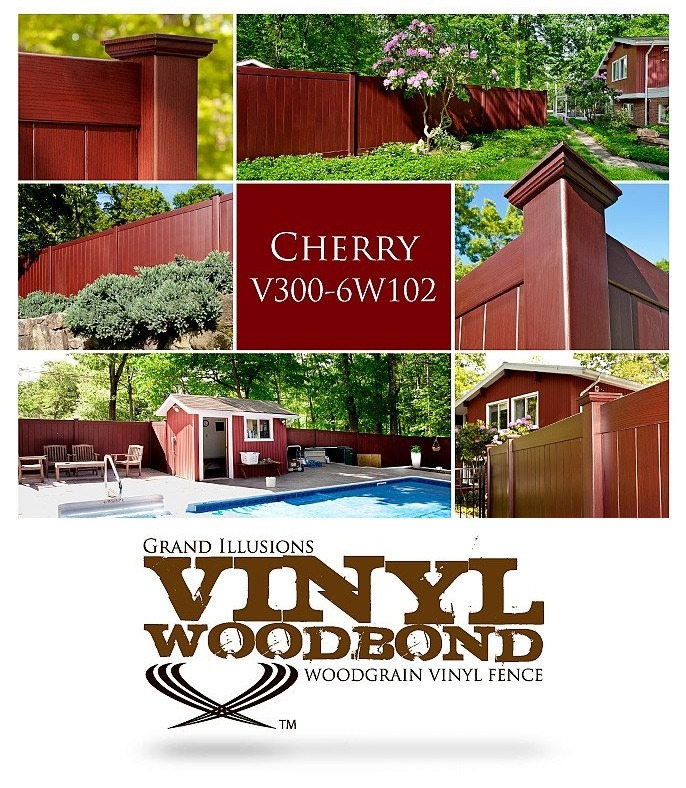 V300-6W102 Vinyl Privacy Fence in Vinyl WoodBond Cherry