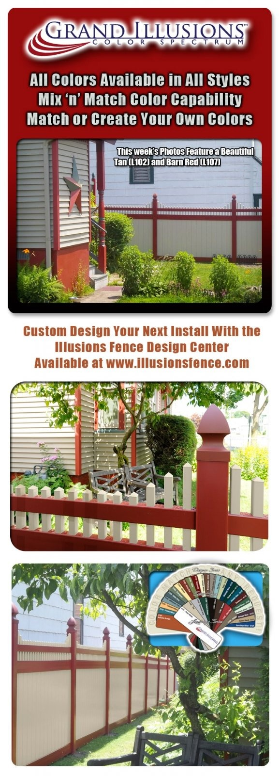 V3706-6 Privacy Fence with Stepped Classic Victorian topper; Landscape Series Tan (L102) Panels and Pickets; Landscape Series Barn Red (L107) Rails, Posts and French Gothic Caps (V55FG)
