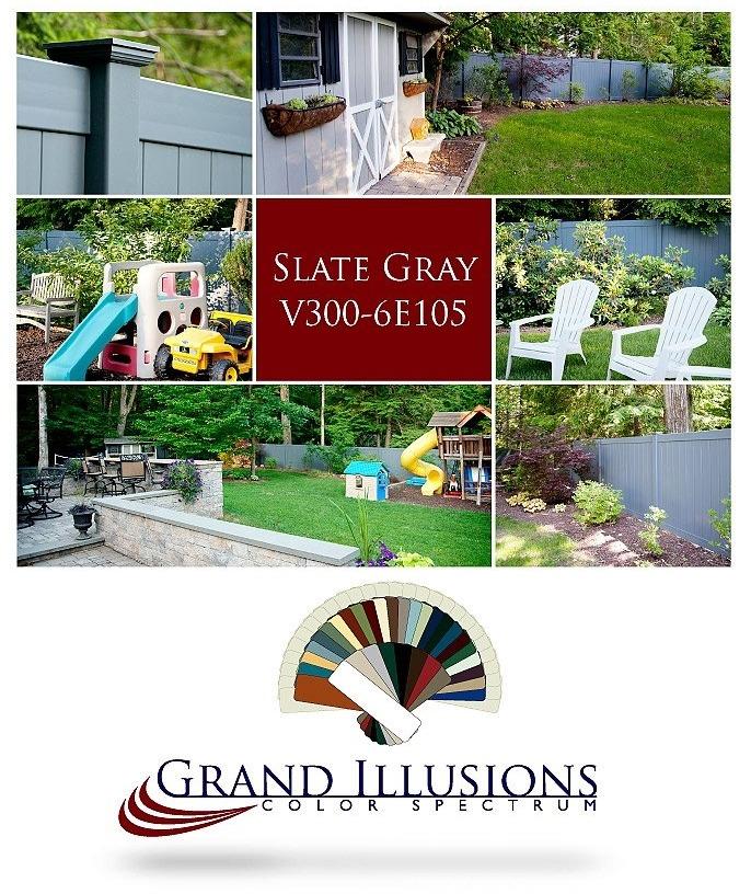 V300-6E105 Vinyl Privacy Fence in Color Spectrum Slate Gray