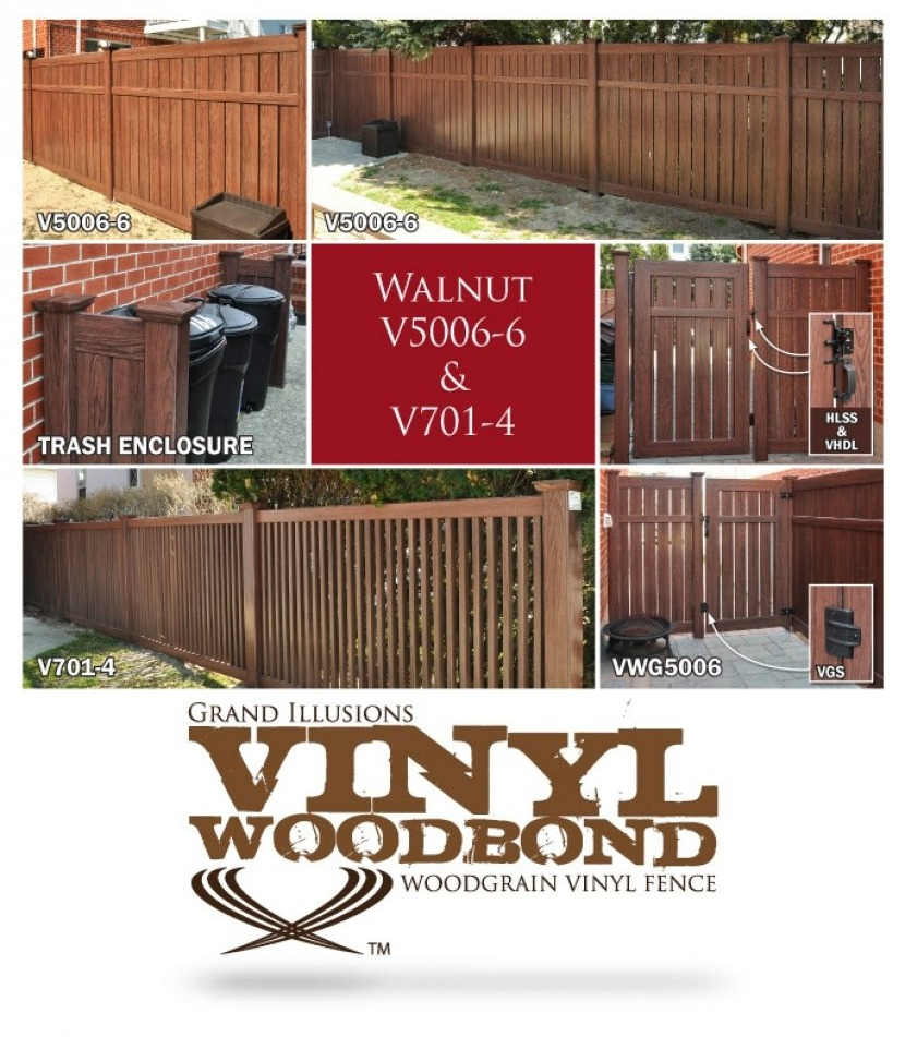 These photos highlight a terrific install of 18 sections of V5006-6W103 Semi-Privacy and 6 sections of V701-4 Framed Classic Victorian Picket Grand Illusions Vinyl WoodBond Walnut fence.