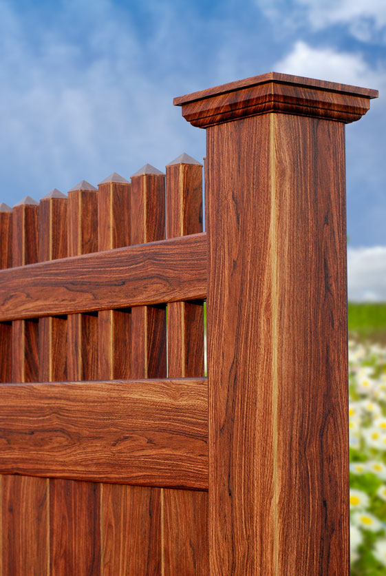 Where can I get Walnut Wood PVC Fence? - Illusions Vinyl Fence
