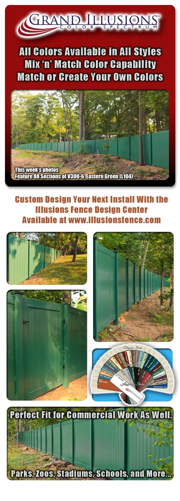 88 Sections of Eastern Green (L104) V300-6 Tongue & Groove Vinyl Privacy Fence
