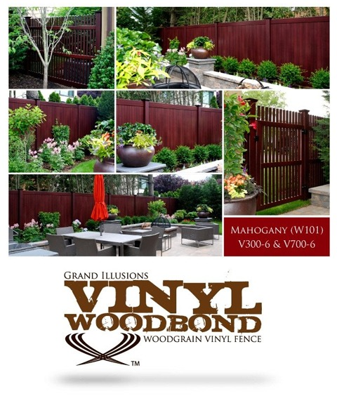 V300-6W101 and V700-6W101 Grand Illusions Vinyl WoodBond Mahogany Fence