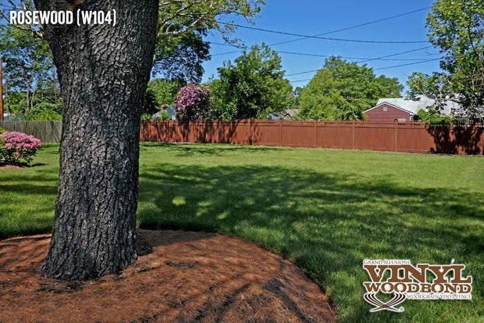 rosewood vinyl woodgrain pvc fence_1