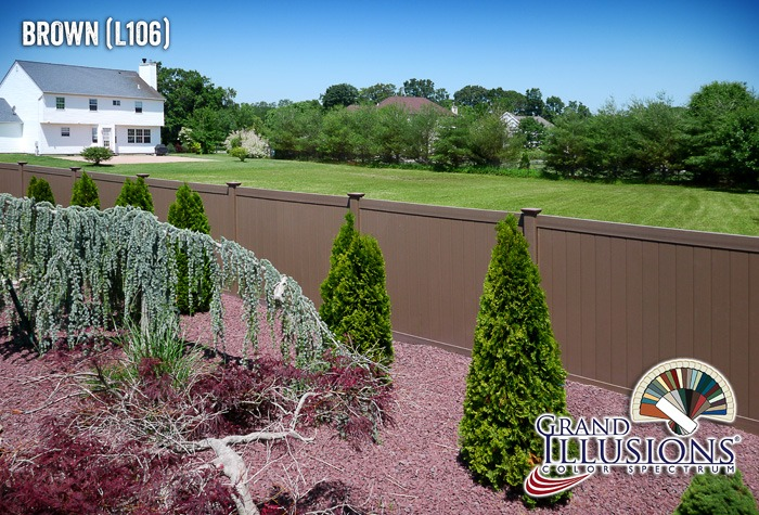 brown vinyl pvc fence