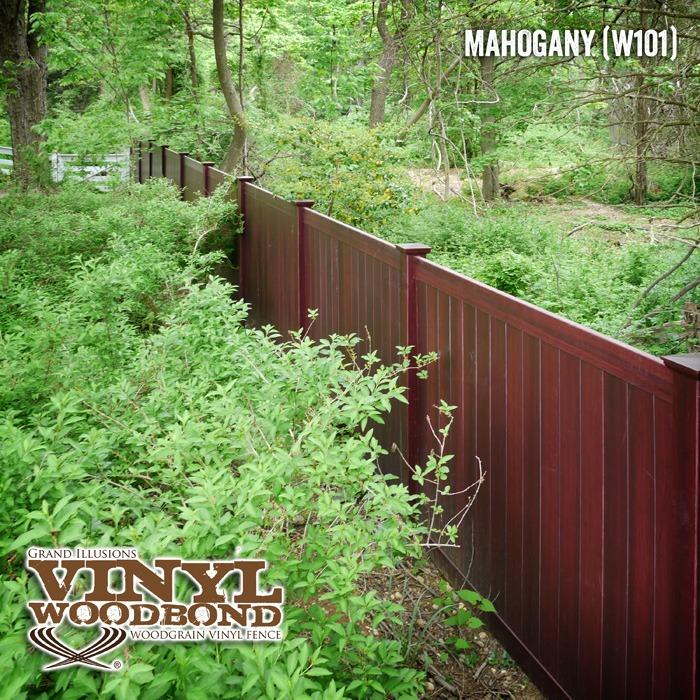 mahogany woodgrain vinyl fence_1