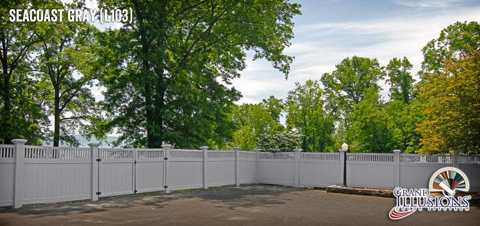 pvc vinyl gray fence