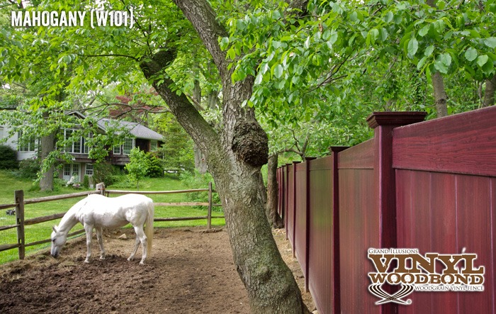 vinyl color woodgrain horse fence