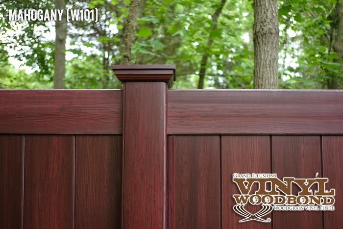 woodgrain vinyl fence mahogany_1