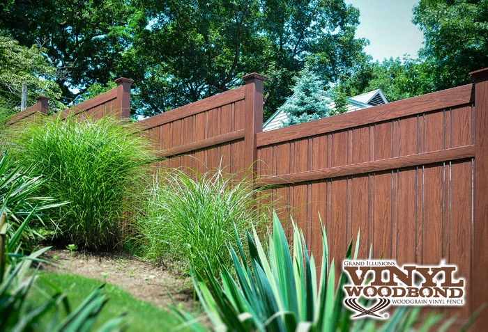 Rosewood Grand Illusions Fence pvc vinyl wood grain brown fencing semi-privacy